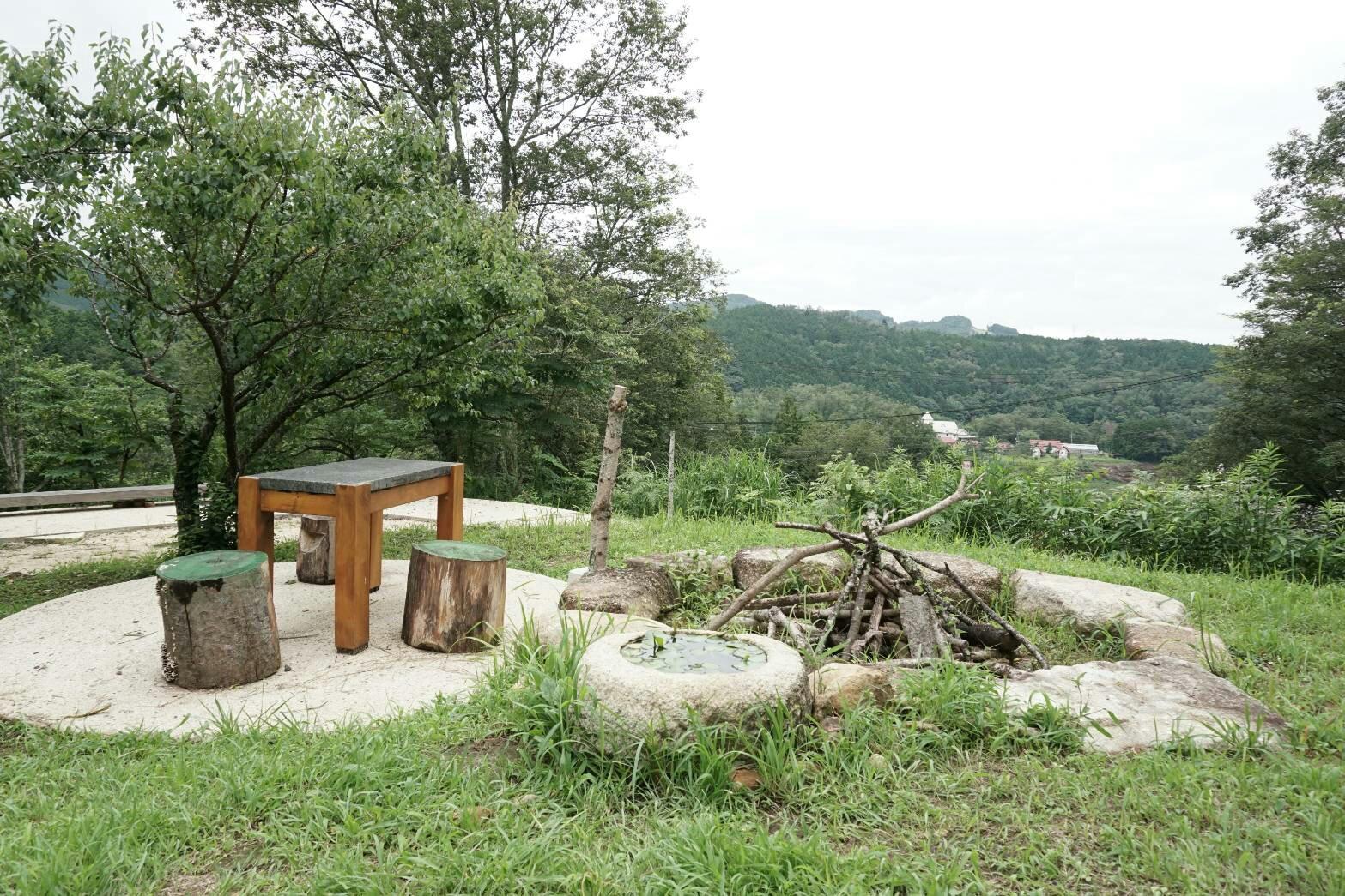中津川のパン屋キュルティヴァトゥールのお庭の焚き火場所