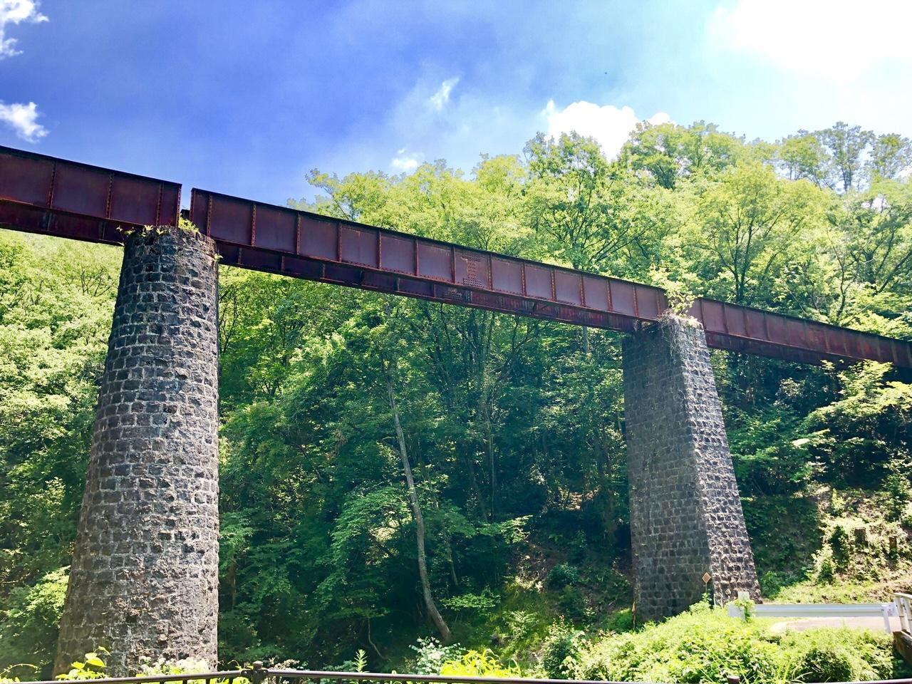 北恵那鉄道廃線跡の上地橋梁を横から写真