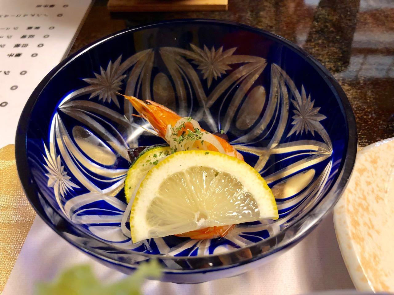 恵那市の食事水半茶寮の酢の物
