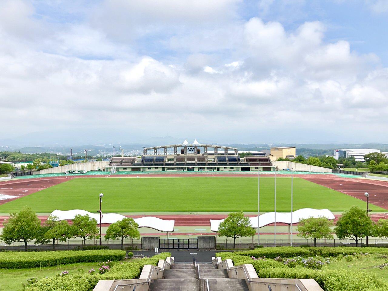 中津川公園競技場を上から見た景色