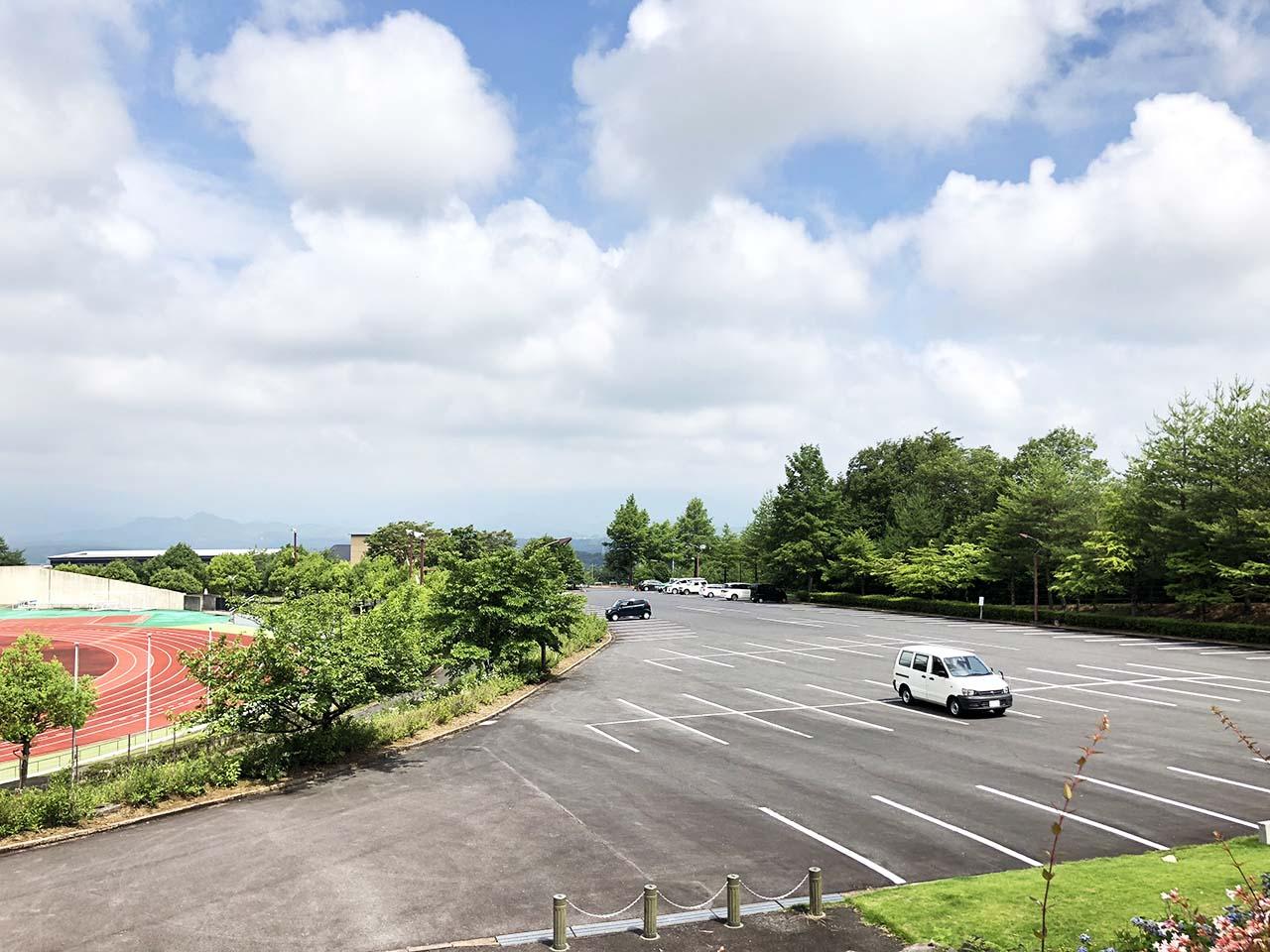 中津川公園の第1駐車場の上からの景色