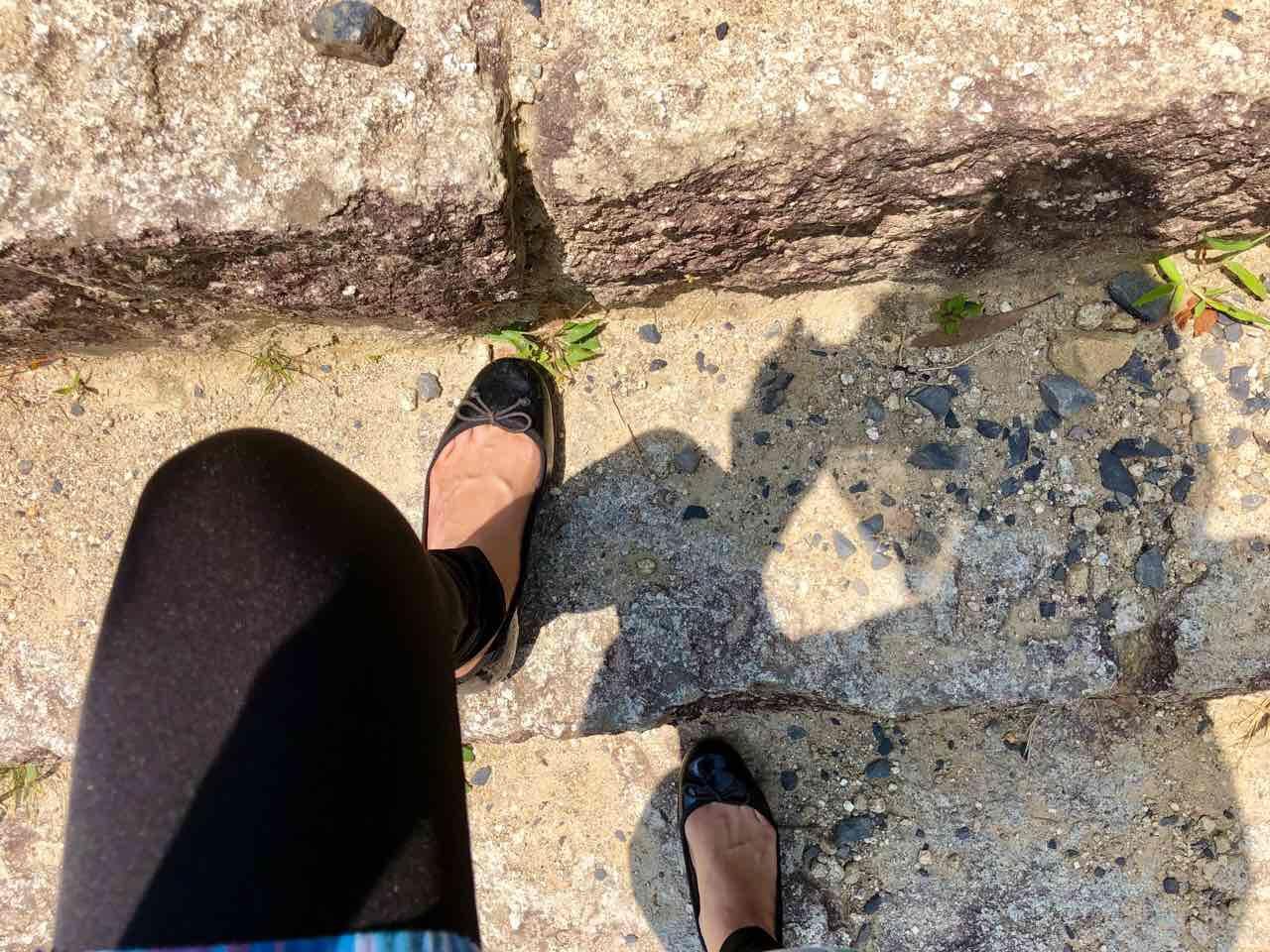 苗木城跡石の階段狭い