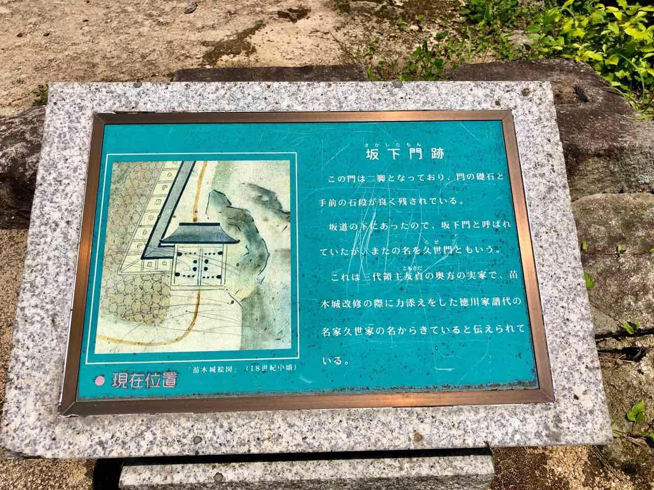 苗木城の坂下門跡の説明